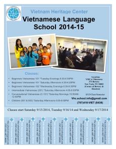 Vietnamese School Year 2014-2015 flyer
